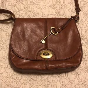 Fossil saddle brown adjustable leather crossbody